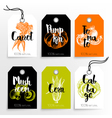 Hand drawn vegetables sale tags 100 natural vector image