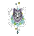 Abstract Wolf Watercolor Tattoo vector image
