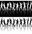 Dancing Girls Silhouettes vector image vector image