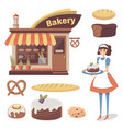 bakery set with pastry store building baked goods vector image