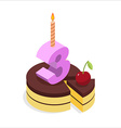 Birthday 3 years Cake and Candle isometrics Number vector image