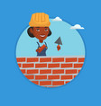 bricklayer working with spatula and brick vector image