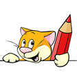 cartoon cat peeking out holding red pencil vector image