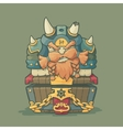 Cartoon styled dwarf sitting on the chest vector image
