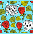 endless wallpaper with roses and sugar skulls vector image