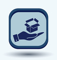 hand holding a Opened cardboard box vector image