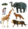 Set of different animals polygonal icons vector image