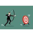 Target run away from businessman archer vector image
