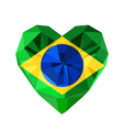 crystal gem jewelry Brazilian heart with the flag vector image