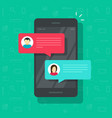 chat messages notification on smartphone vector image