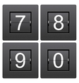 Numeric series 7 to 0 from mechanical scoreboard vector image
