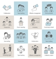 Teamwork icons line flat vector image