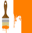 Paintbrush with dripping orange paint isolated vector image