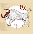 chinese zodiac symbol of etching ox vector image