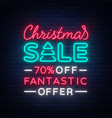 christmas sale card template in neon style vector image