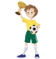Happy soccer fan holds cup and ball vector image