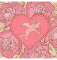Heart with cupid and roses vector image