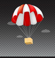 icon of package flying on red parachute on a vector image