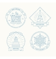 Merry Christmas and Happy New Year badges set vector image