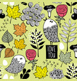 romantic autumn pattern with doodle birds and tree vector image