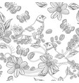 seamless texture with birds on floral twigs for vector image
