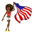 USA flag girl vector image