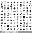 100 housewife icons set simple style vector image