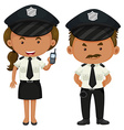 Two police officers in black and white uniform vector image vector image