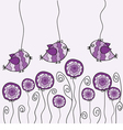 Purple bird and flower vector image