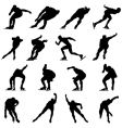 skating man silhouette set vector image