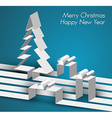 Merry Christmas card made from paper stripes vector image