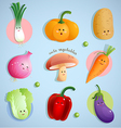 cute vegetables characters vector image