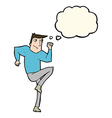 cartoon man jogging on spot with thought bubble vector image