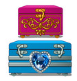 box with gold ornate and box with sapphire heart vector image