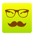 mustache and glasses sign brown icon at vector image