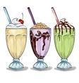 Set color milk shake cocktails vector image
