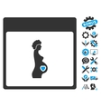 Pregnant Woman Calendar Page Icon With vector image