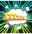 Zzz comic book bubble text retro style vector image