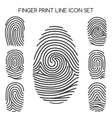 Fingerprint line icons vector image