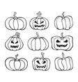 halloween pumpkin comic set cartoon collection vector image