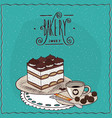 italian dessert tiramisu with cup of coffee vector image