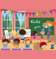 many kids in the classroom vector image