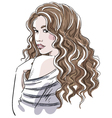Sketch of a beautiful girl with curly hair vector image