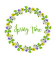 spring wreath with violet and pheasant s eye vector image