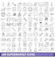 100 supermarket icons set outline style vector image