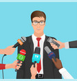 happy businessman in suit interviewed several vector image