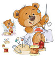 a brown teddy bear tailor vector image