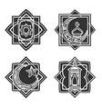 islamic ornate emblem set vector image
