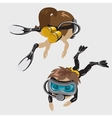 Boy and girl divers in masks cartoon characters vector image