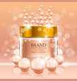 beauty cream with pearls and bubbles on peach vector image